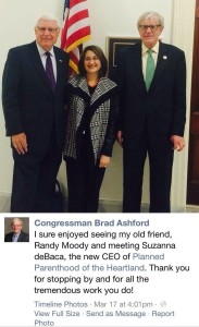 Nebraska Congressman Brad Ashford poses for a photo with his friends from Planned Parenthood in March, 2014, shortly after he was elected to office.