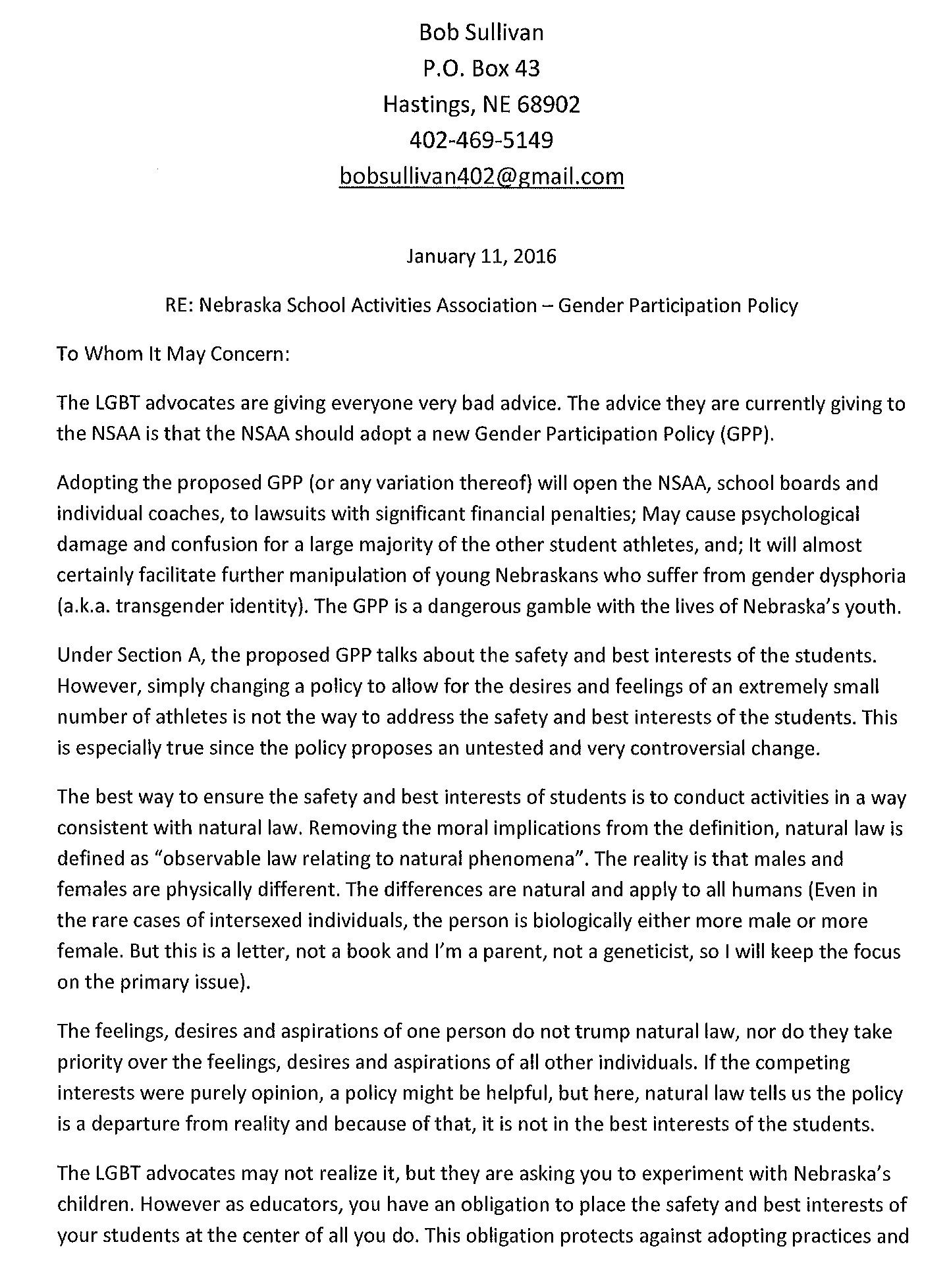NSAA Letter 1